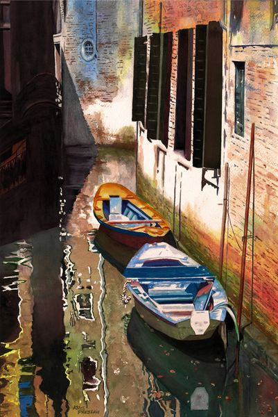 by: COURTESY PHOTOS - Watercolorist Kris Preslan captures reflections in a boat-lined canal in Venice.