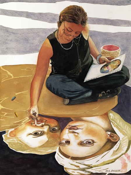 by: COURTESY PHOTOS - Watercolorist Kris Preslan captures a woman painting a Sidewalk Madonna in Italy.