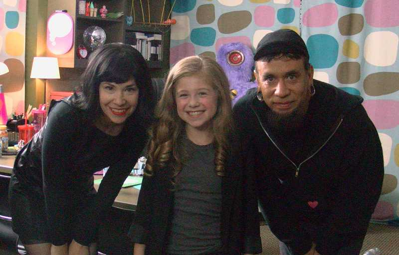 by: SUBMITTED - Ten-year-old Calais Radcliffe poses with Portlandia stars Carrie Brownstein and Fred Armisen.
