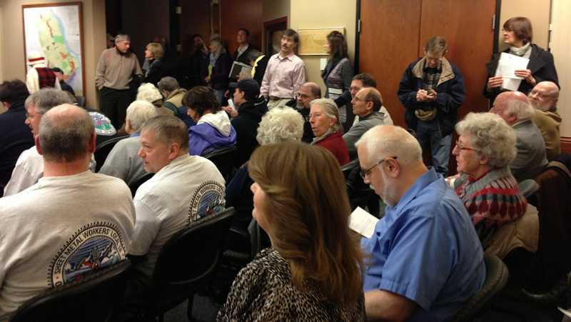 by: LORI HALL - There was standing room only during the West Linn City Council meeting Jan. 14. There were also overflow rooms in both the upstairs and downstairs lobbies at city hall.