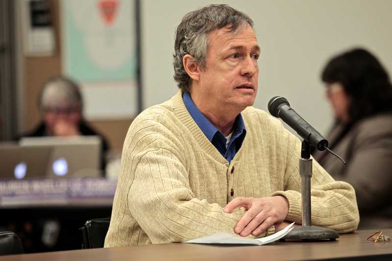 by: TIMES PHOTO: JAIME VALDEZ - Alan Lohner encourages the School Board to change its 'anti-hero' policy.