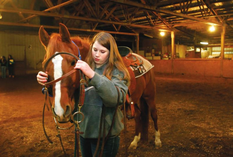 by: PAMPLIN MEDIA GROUP: JIM CLARK - 4-H member Jesse Hartung, 13, places a harness on a horse before going for a ride at Parkman Boarding Facility in Gresham.