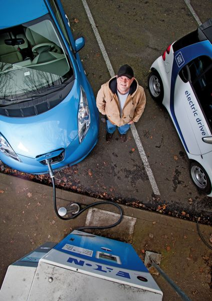 by: PAMPLIN MEDIA GROUP: CHRISTOPHER ONSTOTT - Dennis Harkema is saving $1,000 a month since he switched to a Nissan Leaf for his plant business.