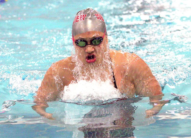 by: MILES VANCE - TO VICTORY - Westview's Tiffany Zhao left the competition behind in winning the 100-yard breaststroke against Sunset last week at Sunset Swim Center.