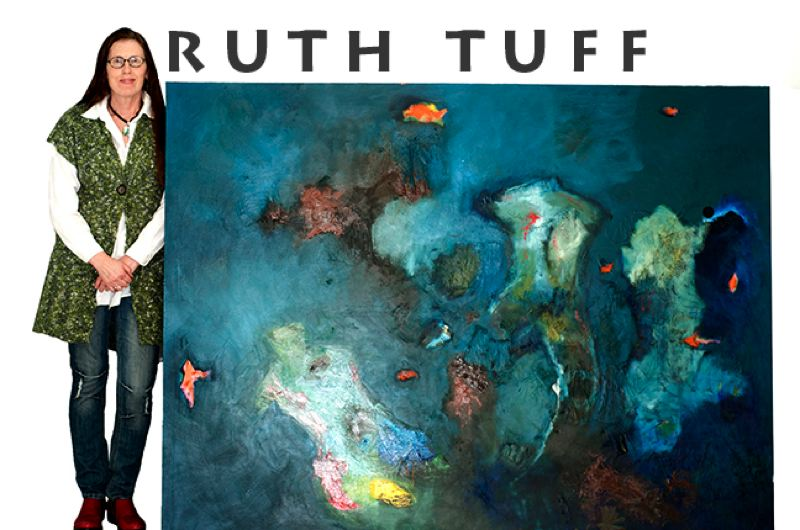 by: CONTRIBUTED PHOTO - Ruth Tuff of Sandy stands beside one of her larger oil-on-canvas paintings. Tuff will talk about her abstract work at the Lori Ryland Art Gallery on Sunday, Jan. 27.
