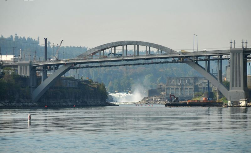 by: FILE PHOTO: VERN UYETAKE - After being closed for 22 months, the Arch Bridge between West Linn and Oregon City reopened to traffic in October.