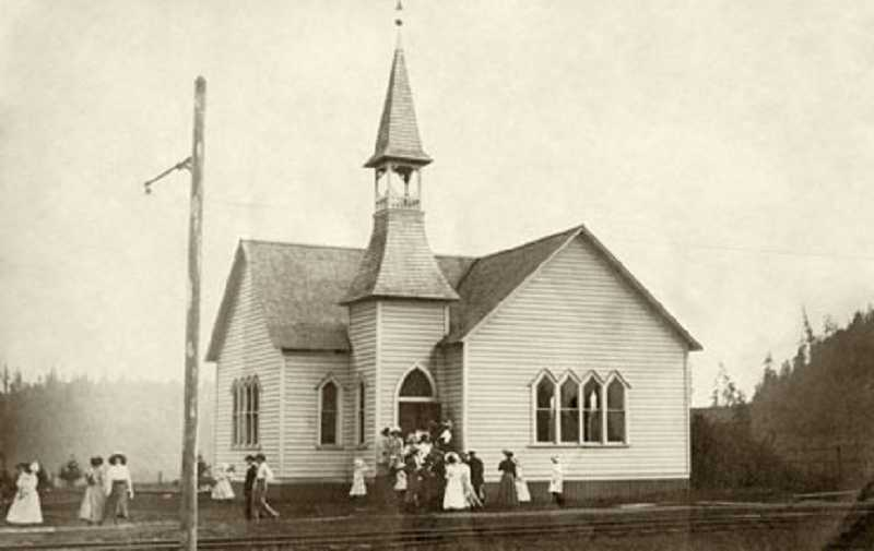 by: OLD OREGON PHOTOS - 'Willamette Methodist Church Dedication Day' by an unknown photographer circa Sept. 12, 1909.
