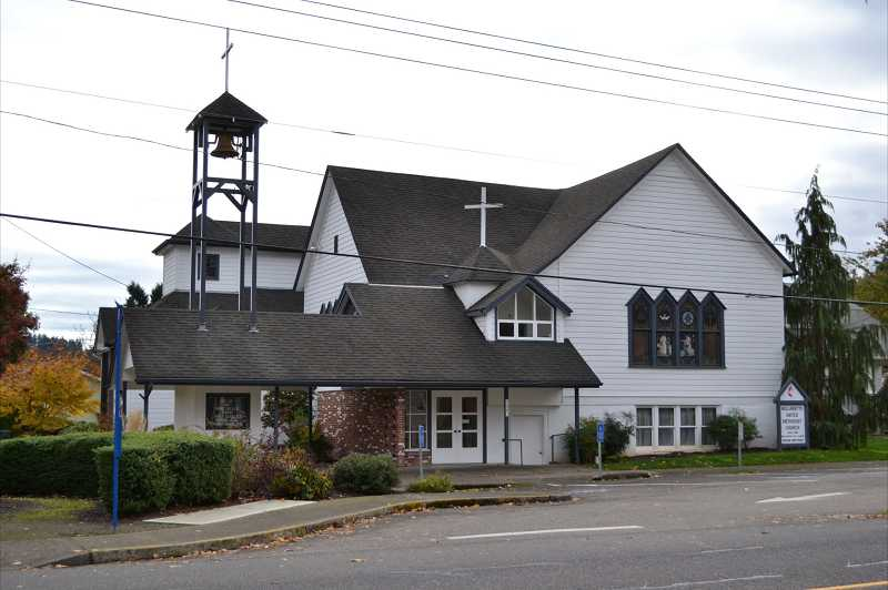 by: KENDRA FRANKLE - Modern photograph of Willamette Methodist Church in West Linn.