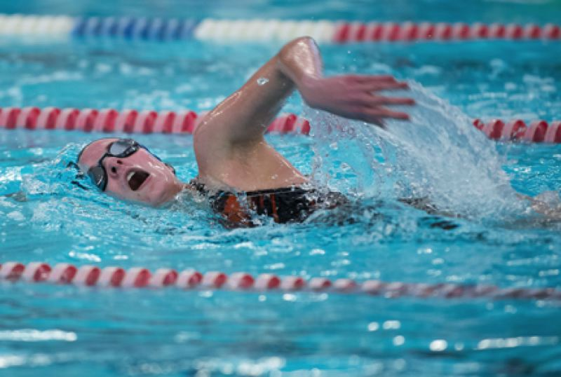 by: JEREMY DUECK - 'Scappoose's Molly Orr won the 200 free during the Tribe's dual match with Seaside last week. The Lady Indians came out on top, but the boys finished second.