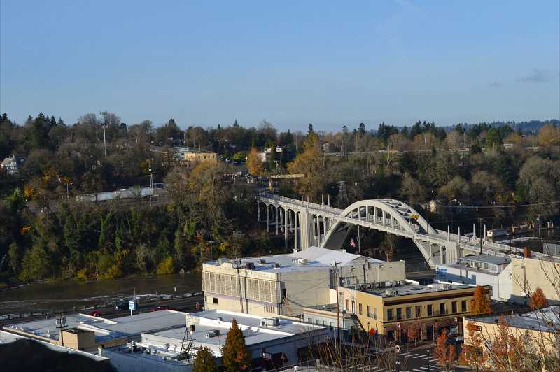 by: KENDRA FRANKLE - A view overlooking the recently opened Oregon City-West Linn Arch Bridge.