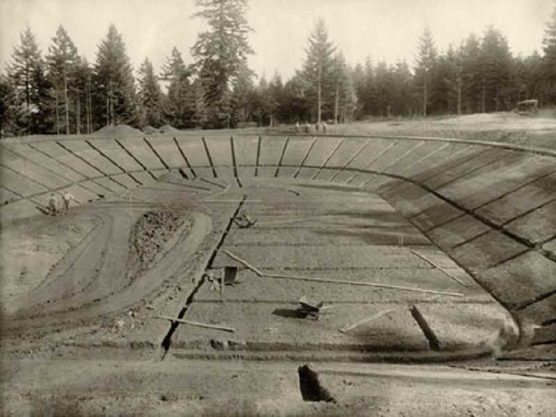 by: OLD OREGON PHOTOS - 'Building the Bolton Reservoir' by photographer S. P. Davis, circa 1915.