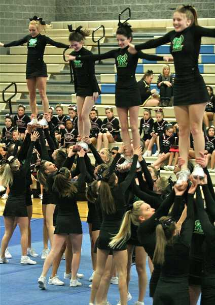 by:  J. BRIAN MONIHAN - West Linn High School's competitive cheer team competed recently at the Pacer Invitational. The cheerleaders competed in the large school division and finished in fifth place overall.