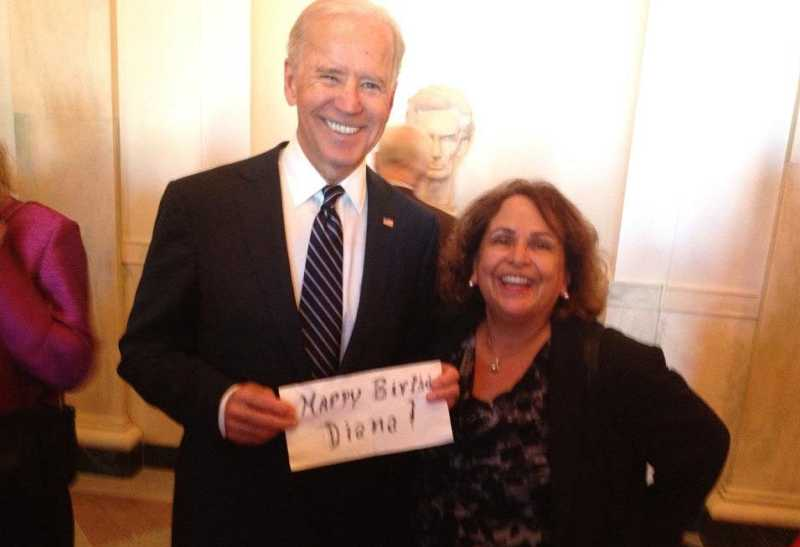 by: SUBMITTED - Lake Oswego resident Diana Laboy-Rush had a big surprise on her birthday last Friday. She received a phone call from Vice President Joe Biden, wishing her happy birthday. 'My mom, Annette Rodrigues, a government contractor, was invited (last Thursday) to attend the inaugural breakfast reception with President Obama and the first lady,' Laboy-Rush told  the Review. 'She lives and works in California, so she had to get on a redeye out of San Jose in order to attend. At the end of the event, she went through the reception line and met the president, the first lady, Vice President Biden and Jill Biden. As she was in line, she scribbled on a napkin, 'Happy birthday, Diana,' and when she reached the vice president, she asked to take a picture with the napkin so she could send it to me. The vice president told her to 'get her on the line so I can wish her a happy birthday.' And so my first birthday phone call ... came from the vice president of the United States. A very good way to start the day.'
