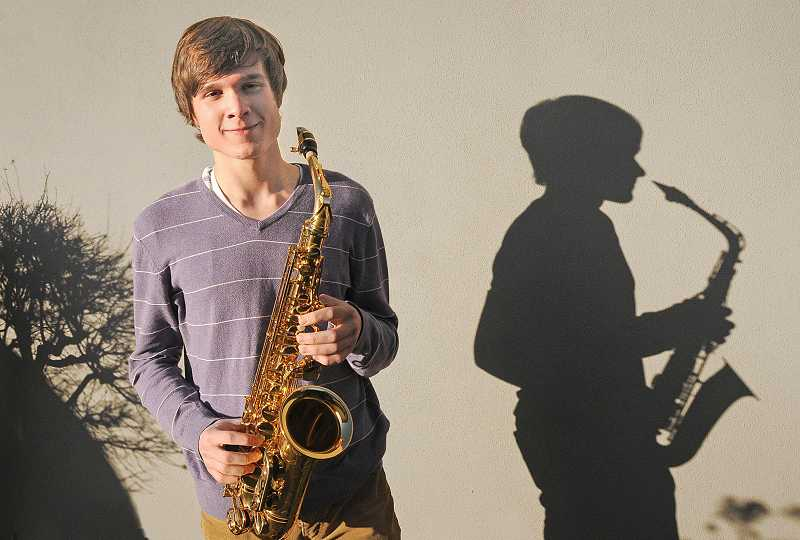 by: REVIEW PHOTO: VERN UYETAKE - Benton Case will take his saxophone all the way to Disneyland in California in March. He will compete against the finest young woodwind players in America.