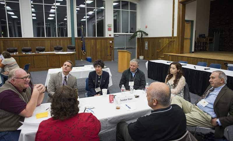 by: TIMES PHOTO: CHASE ALLGOOD - School district leaders from across Washington County met with lawmakers in Forest Grove last week to talk about K-12 funding concerns.