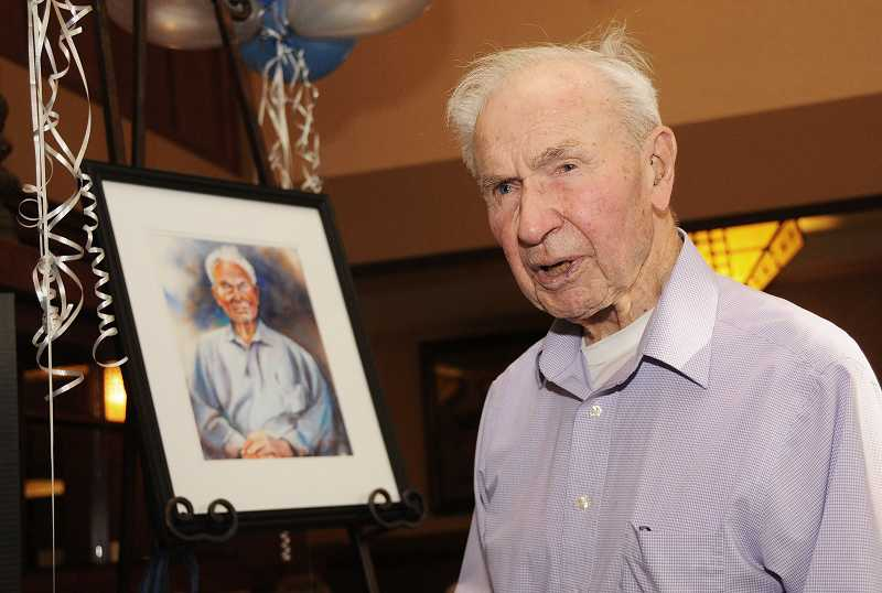 by: VERN UYETAKE - The unveiling of a portrait of Mel Munch was the highlight of his 100th birthday party at The Stafford last week.