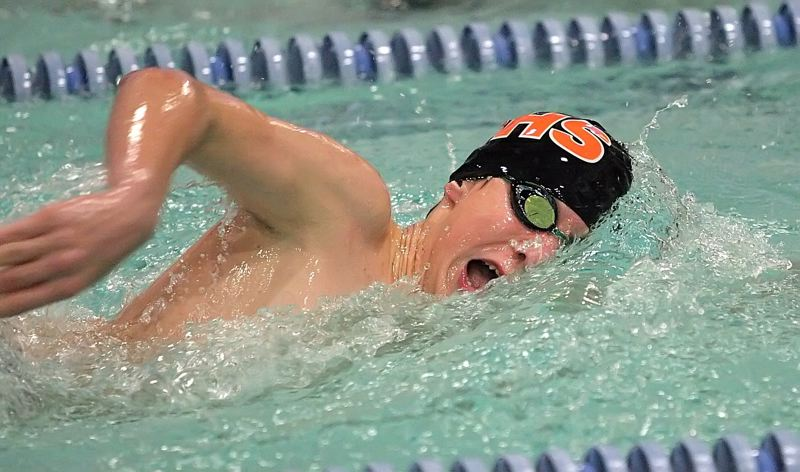 by: MILES VANCE - MAKING WAVES - Beaverton's Rigo Mejia-Hernandez races to a runner-up finish in the 500-yard freestyle against Jesuit at Beaverton Swim Center on Jan. 17.
