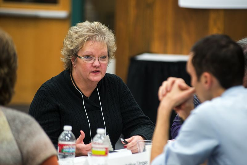 by: NEWS-TIMES PHOTO: CHASE ALLGOOD - Hillsboro School Board member Carolyn Ortman makes a point during the education funding summit.
