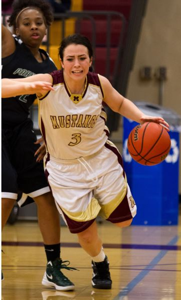 by: JONATHAN HOUSE - Milwaukie senior Lorissa Martine (3) drives the baseline in Fridays 55-44 win over Parkrose.