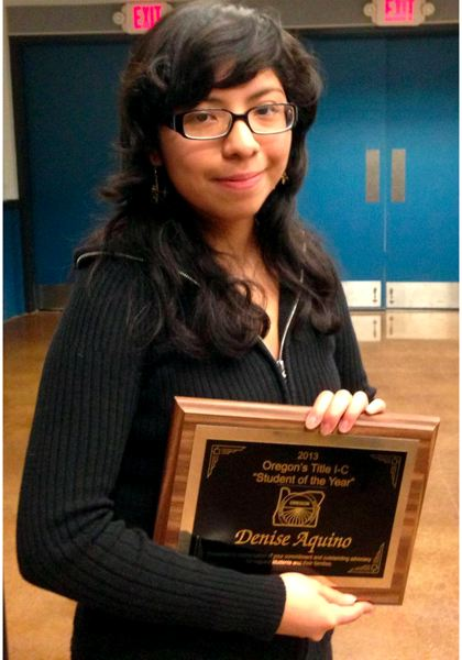 by: MOLALLA PIONEER - Molalla High School junior Denise Aquino was named the Oregon State Migrant Student of the Year Friday in Seaside.