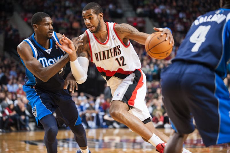 by: TRIBUNE PHOTO: NICK FOCHTMAN - Portland's LaMarcus Aldridge starts a drive on his way to a game-high 29 points versus Dallas, as the Trail Blazers win 106-104 at the Rose Garden.