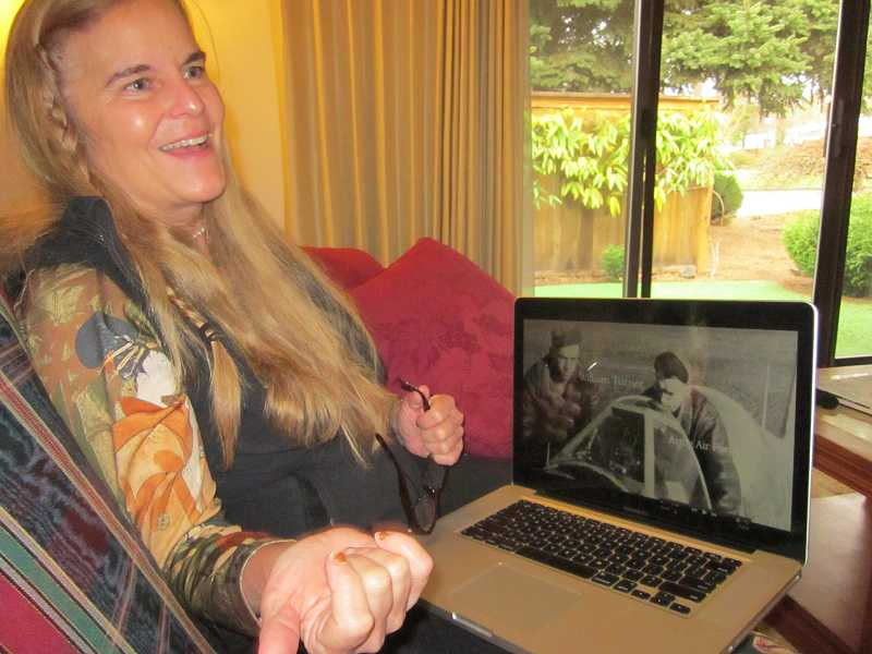 by: BARBARA SHERMAN - CREATIVE OUTLET - Sal Strom plays one of her WWII veterans videos that she created using a veterans voice and images she put together.
