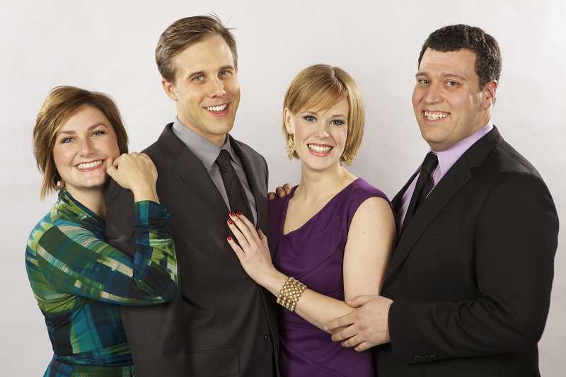 by: CHRIS RYAN FOR THE BROADWAY ROSE THEATRE COMPANY - FOUR FABULOUS FRIENDS - Amy Jo Halliday (left), Joshua Stenseth, Leah Yorkston and Colin Wood play a variety of roles in the Broadway Rose Theatre Companys first production of 2013, a musical revue called I Love You, Youre Perfect, Now Change.
