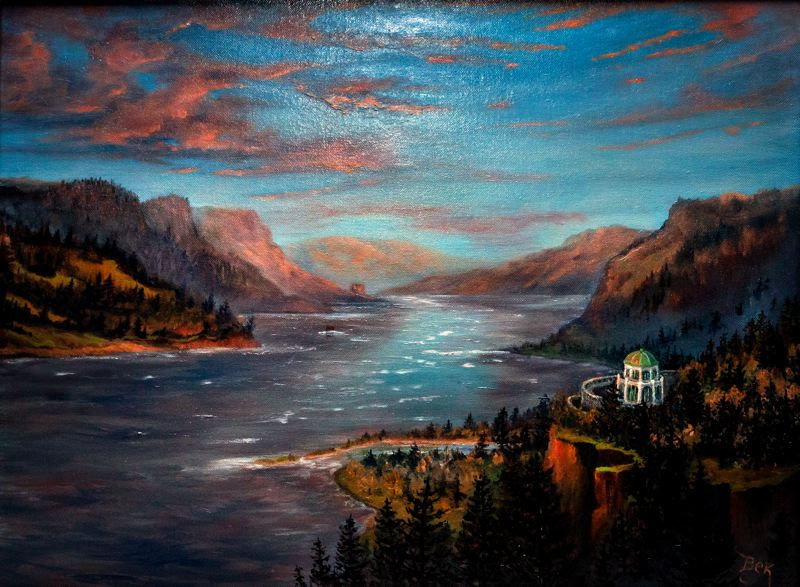 by: CONTRIBUTED PHOTO: ROD STROH - This oil painting by Becky Hawley, president of the Wyeast Artisans Guild, takes viewers on an imaginary hot-air balloon ride for an elevated view of Crown Point and the historic Vista House. An exhibit of artworks by guild members will open at 6:45 p.m. Thursday, Feb. 7, at the Sandy Actors Theatre just before the preview showing of the SAT play The Last Romance.