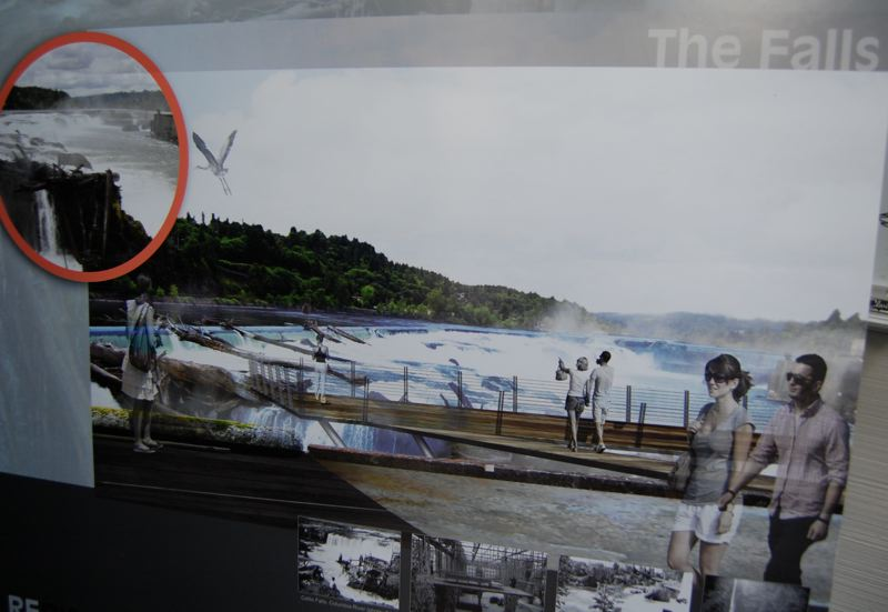 by: PHOTO BY: RAYMOND RENDLEMAN - A 'concept image' of Willamette Falls tourism potential, according to Oregon City Community Development Director Tony Konkol, will help the community imagine renovations to the site.
