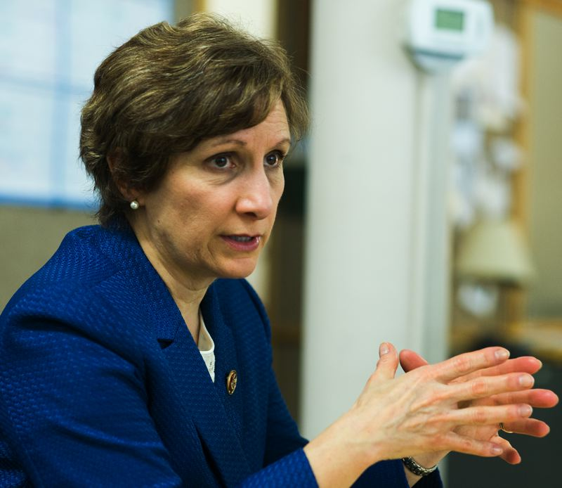 by: NEWS-TIMES PHOTO: CHASE ALLGOOD - On a break from her duties in Washington, D.C., last week, Oregon First District Congresswoman Suzanne Bonamici stopped by the News-Times office to discuss budget, education, immigration and gun control issues.
