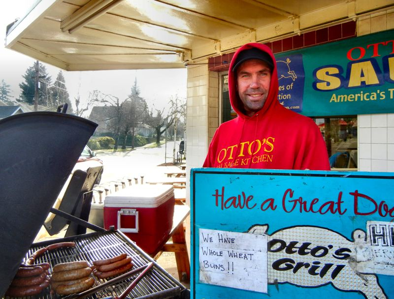 by: ELIZABETH USSHER GROFF - In his ninth year working at Otto´s, Bill Kuhn says he wears Lots of layers in frosty weather, gathers warmth from the outdoor grill, and loves his job barbecuing for midday customers on Woodstock Boulevard.