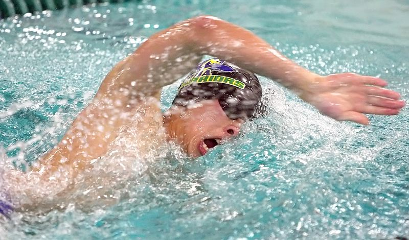 by: MILES VANCE - METRO FINALE - Aloha senior Calvin Mai races to victory in the 100-yard freestyle against Westview on Jan. 31 at Aloha Swim Center.
