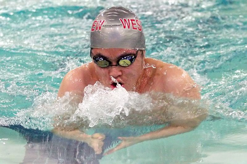 by: MILES VANCE - DIG IN - Westview junior Andrew Yoon swims to a runner-up finish in the 100 breaststroke against Aloha last week.