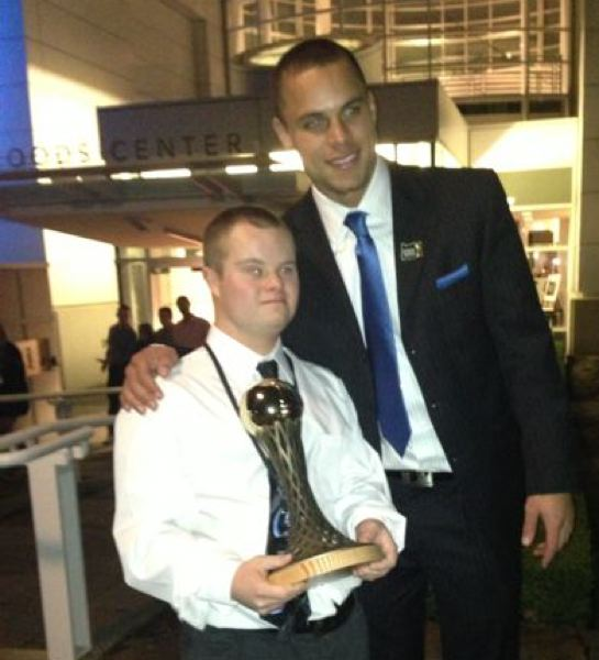 by: SPORTSONE - Dony Knight (left), the Special Olympics Athlete of the Year, celebrates with Oregon State football All-American Jordan Poyer after Sunday's Oregon Sports Awards show at Nike's Tiger Woods Center.