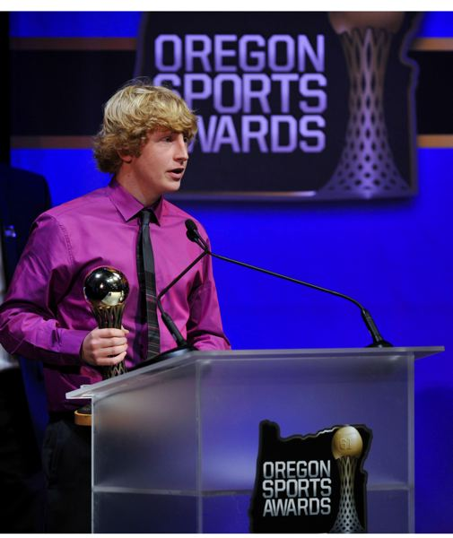 by: JOHN LARIVIERE - One of 23 high school trophies handed out at Sunday's Oregon Sports Awards goes to Jesuit High's Christo Michaelson as the Prep Boys Soccer Player of the Year for 2012.