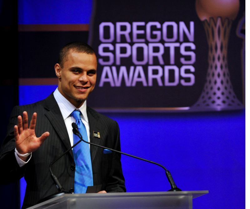by: JOHN LARIVIERE - Jordan Poyer, All-American defensive back from Oregon State, serves as one of a dozen celebrity award presenters.