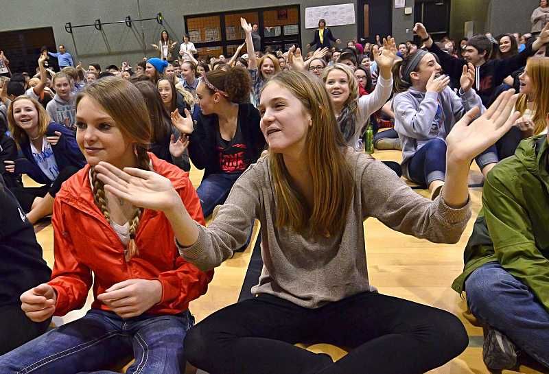 by: VERN UYETAKE - Abby Beckett , right, and Avery Feurborn enjoy the music of The Norman Sylvester Band.