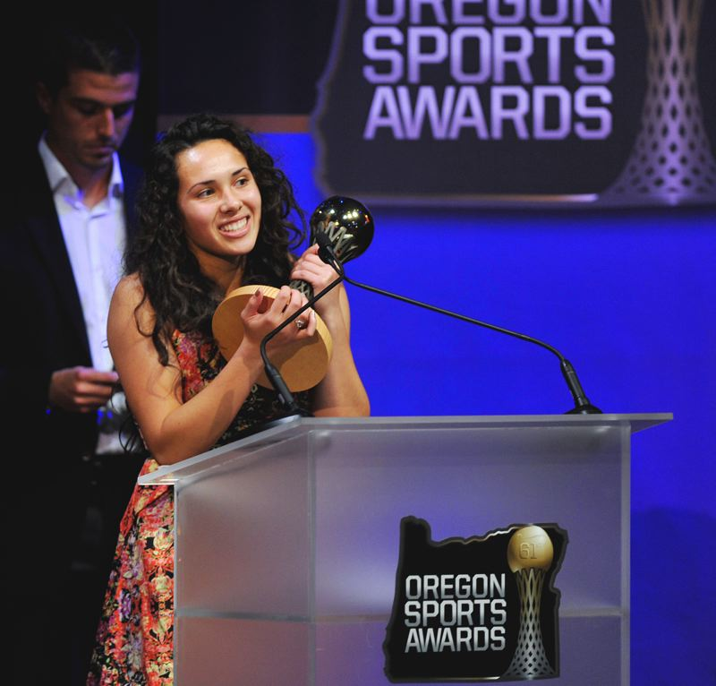 by: OREGON SPORTS PHOTOS: JOHN LARIVIERE  - Scappoose's Ariel Viera was named the Oregon 4A-1A Player of the Year in Soccer at the Oregon Sports Awards on Sunday night.