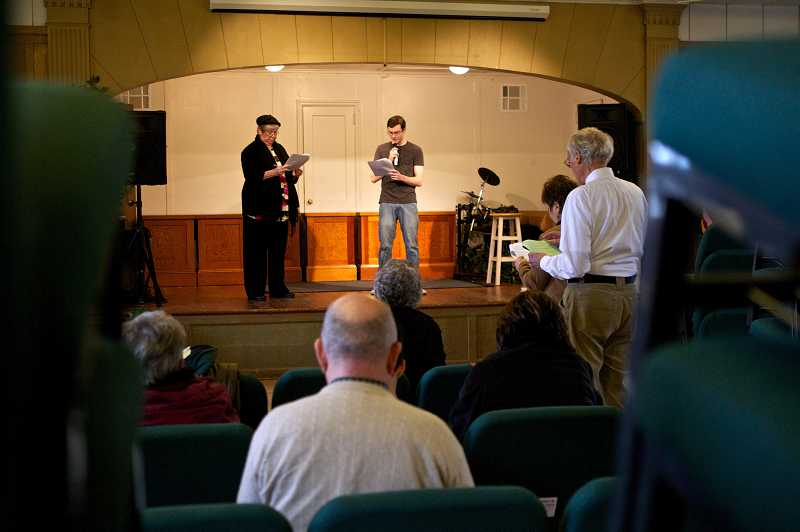 by: JAIME VALDEZ - Pat Romans and Daniel Nyberg rehearse for Tualatin Historical Society's 'docu-drama' about the city's decision to incorporate in 1913.