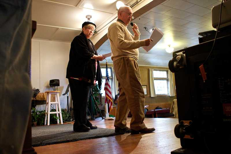 by: JAIME VALDEZ - Pat Romans and Larry McClure rehearse for Tualatin Historical Society's 'docu-drama' to celebrate the Centennial.