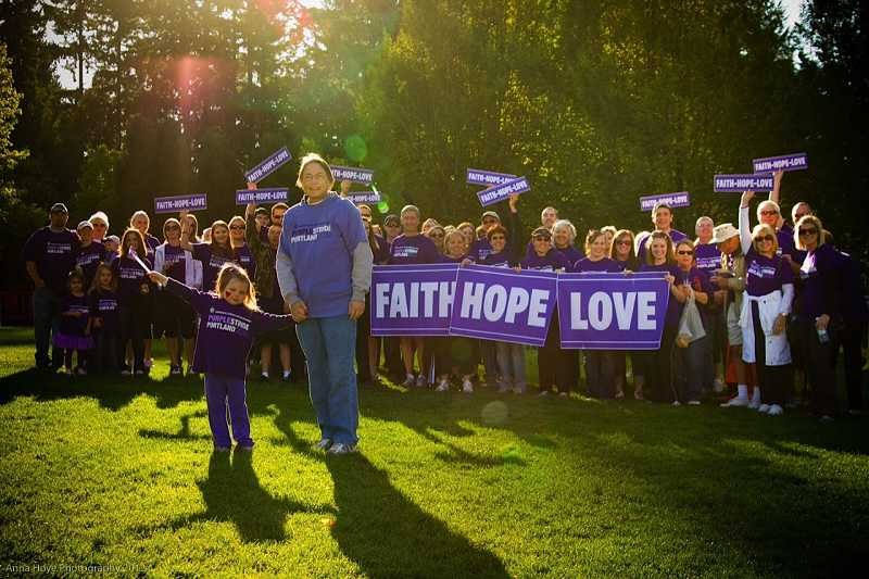 by: ANNA HOVE PHOTOGRAPHY - Kittelsons family and friends during the Pancreatic Cancer Action Networks annual PurpleStride fundraising walk in October.