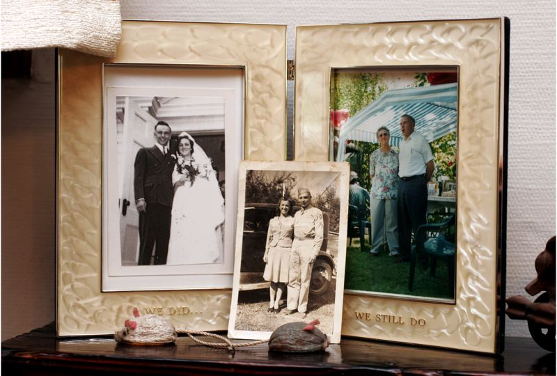by: FILE PHOTO -  The three photos show the Kitchens, from left, on their wedding day, August 16, 1942; in Troutdale on his first leave from the Army in September 1943; and on their 60th anniversary. They still own the 1929 Ford Model A shown in the center photo. FILE PHOTO