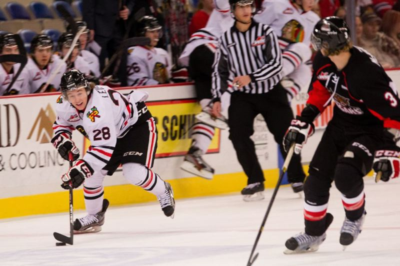 by: TRIBUNE PHOTO: CHRISTOPHER ONSTOTT - Brendan Leipsic (left) and Portland Winterhawks teammate Nic Petan are leading the Western Hockey League in scoring.