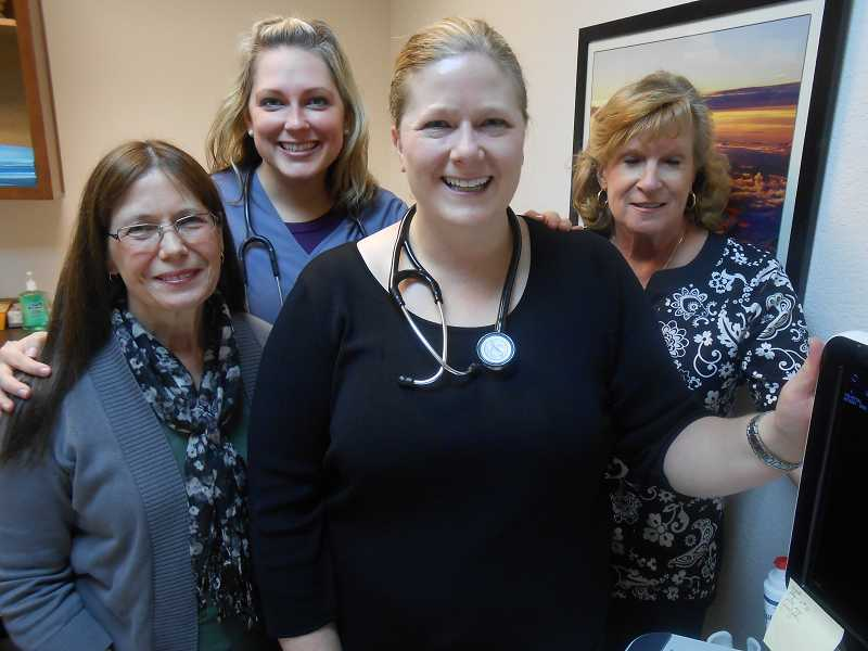 by: REVIEW, TIDINGS PHOTO: CLIFF NEWELL - The staff at Womens Health of Oregon is qualified to deal with all health needs of women. From the left are Donna Vickers, Amanda Griffith, Dr. Jennifer Miller-Davis and Paula Blakeley-Kauffman.