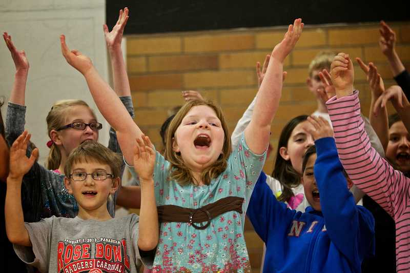 by: TIMES PHOTO: JAIME VALDEZ - Colleen Hoffert, a fifth-grader at Oak Hills Elementary School, performs the song 'Interjections' during rehearsal of the school's  musical production  of 'Schoolhouse  Rock Live!'