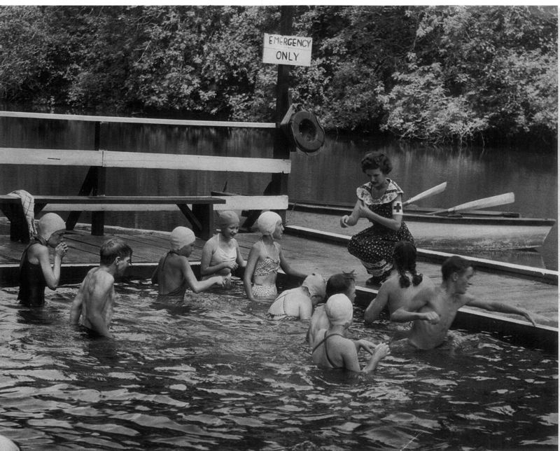 by: COURTESY OF TUALATIN RIVERKEEPERS  - Swimmers get a lesson at Roamers Rest on the Tualatin River, circa 1949.
