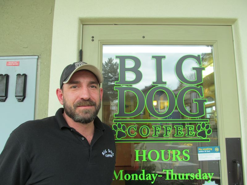 by: PHOTO BY ELLEN SPITALERI - Matthew Perry, owner of Oregon Citys Big Dog Coffee Shop, was chosen as the chamber of commerce's New Member of the Year.