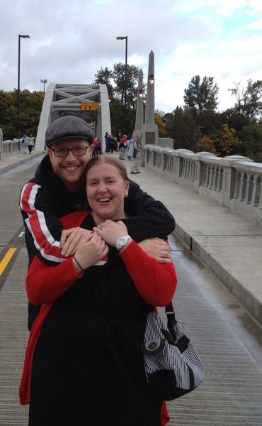 by: PHOTO COURTESY: DAVID HULEGAARD - David Hulegaard and Jennie Fasciona, local residents who just launched a website, celebrate the reopening of the Oregon City Arch Bridge in October.