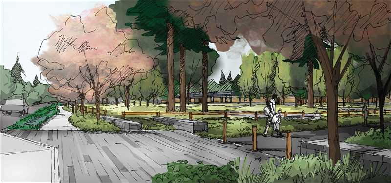 by: SUBMITTED - This is a rendering of a proposed public path running along the water treatment plant in the Robinwood neighborhood.