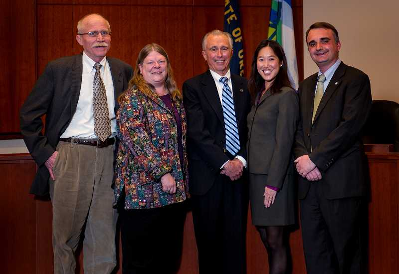 by: CITY OF WEST LINN - The 2013 city council is, from left, Mike Jones, Jody Carson, Mayor John Kovash, Jenni Tan and Thomas Frank.